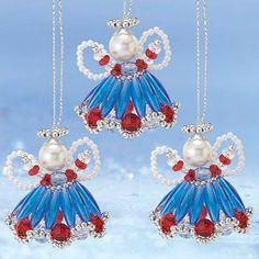 Grandma's Lil Patriotic Angels Ornament Kit - Herrschners #July #USA