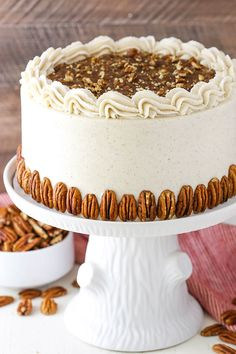 Pecan Pie Layer Cake - layers of homemade pecan pie filling, moist brown sugar cake and cinnamon frosting! Pecan Pie Layer Cake - layers of homemade pecan pie filling, moist brown sugar cake and cinnamon frosting! Homemade Pecan Pie, Brown Sugar Cakes, Butter Pecan Cake, Pecan Pie Cake, Cake Recipes, Dessert Recipes, Dessert Ideas, Cupcake Cakes, Cupcakes