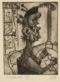 """Otto Dix. Old Woman at the Café. 1920. Etching on heavy off-white wove paper. Signed, lower right, inscribed """"Kaltnadel (drypoint) 10/10 I,"""" lower left, and titled, lower left margin. 9 3/4"""" x 7 3/8"""" (24.8 x 18.7 cm). One of 10 proofs before the edition of 20 impressions published in the portfolio 6 Drypoints. Karsch 9/a."""