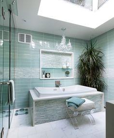Aqua Tiles | Lucite Ottoman | Blue Color | Boutique Hotel | Home Design | Bathroom