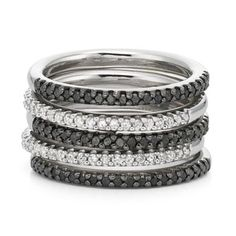 Color-Enhanced Black Diamond 5-Pc. Ring Set    found at @JCPenney