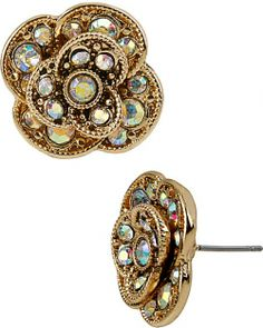PROM PARTY CRYSTAL FLOWER STUD EARRING CRYSTAL