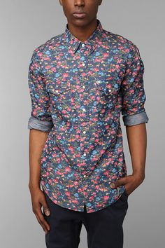 Salt Valley Smoky Floral Western Shirt at Urban Outfitters, Men's XS
