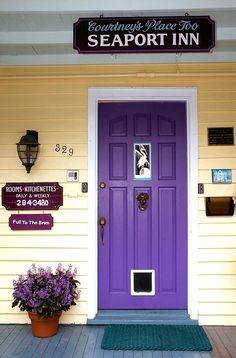 purple front door! i love the idea of a purple front door with
