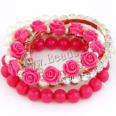 Zinc Alloy Bracelet Set, with ABS Plastic Pearl & Resin, Flower…