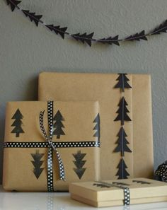 For this patterned ode to Christmas trees, you'll need paper card stock, scissors, a sewing machine, 2-inch rubber eraser, and a black ink stamp pad.