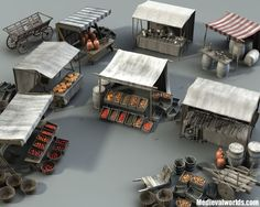 I just have finished work on my latest project, my third medieval marketplace set. The set is available now at and Turbosquid in lwo, and obj format. Feel free to let me know what you . Medieval Market, Medieval Houses, Medieval Town, Medieval Fantasy, Medieval Castle, Hirst Arts, Game Terrain, Wargaming Terrain, Modelos 3d
