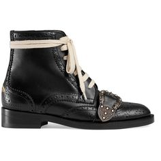 Gucci Queercore Brogue Boot (4.910 BRL) ❤ liked on Polyvore featuring shoes, boots, black, studded leather boots, leather buckle boots, studded boots, leather lace up boots and laced boots