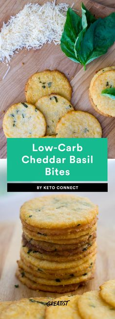6. Low-Carb Cheddar Basil Bites #greatist https://greatist.com/eat/keto-recipes-low-carb-crackers