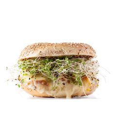 Warm chicken, melted cheese, and crisp sprouts in a toasted bagel makes a satisfying snack or meal. Get the recipe for Chicken, Sprouts, and Provolone Sandwich.