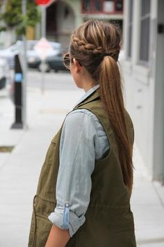 Make two basic braids out of good sized sections on both sides of head then pony it up with the rest of your hair...