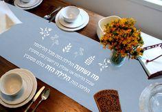 Seder Meal Table Runner  Ma Nishtana Passover Seder by hebraica