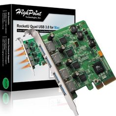 HighPoint RocketU Quad USB 3.0 PCI-Express 2.0 x4 RAID HBA for Mac by HighPoint. $125.76. Designed exclusively for the Mac Pro and the Mac OS X operating system, the RocketU Quad USB 3.0 is a 4-Port PCI-E 2.0 x4 RAID HBA. The RocketU Quad USB 3.0 for Mac Mac delivers class-leading 20Gb/s transfer bandwidth, and is optimized for external SSD and hard drive configurations. The RocketU Quad USB 3.0 for Mac will recognize pre-configured external hard disks and SSD's, and i...