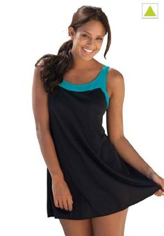 03c404b848337 $39 Swim 365 Plus Size Swimsuit, 2-Piece Tunic Swimsuit (Black Marine Green