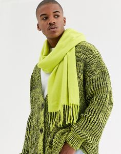 Shop ASOS DESIGN scarf in neon yellow with tassels. With a variety of delivery, payment and return options available, shopping with ASOS is easy and secure. Shop with ASOS today. Woven Scarves, Yellow Fashion, Neon Yellow, Mix Match, Asos Men, Crochet, Shopping, Tassels, Crafts