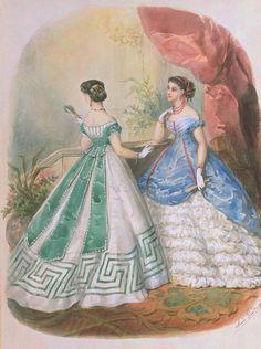 Historical fashion and costume design. Civil War Fashion, 1800s Fashion, 19th Century Fashion, Edwardian Fashion, Retro Fashion, Vintage Fashion, Petite Fashion, Ladies Fashion, Korean Fashion