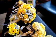 Bouquets made from sola and paper flowers