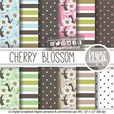 Digital Paper Cherry Blossom Wedding Invitations elegant Background polka dots