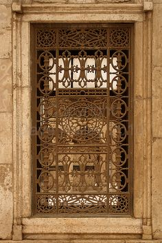 Ornate Ironwork Grill in Window at The Mohammed Ali Pasha Mosque, The Citadel, Cairo, Egypt (Copyright Dave Halley 2010)