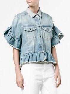 MSGM джинсовая куртка с оборками