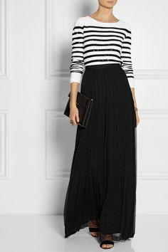Oscar de la Renta|Crinkled silk-chiffon maxi skirt|NET-A-PORTER.COM