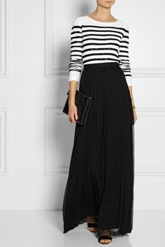 Modest long sleeve maxi dress black and white stripe top with ...