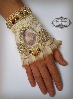 Ювелирные изделия браслет, романтические потертый шик манжету -antique кружева, ручная бисером, вышивкой