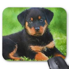Rottweiler Puppy on the Grass Watercolor Mouse Pad - dog puppy dogs doggy pup hound love pet best friend