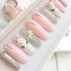 Pink unicorn press on false nails stiletto nails short coffin Fake nails Acrylic nails gel nails holographic short nails - Ongles 02 Matte Nails, Pink Nails, Gel Nails, Manicure, Acrylic Nails, Coffin Nails, Short Nail Designs, Nail Art Designs, Fake Nails For Kids