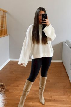 Dressy Outfits, Cute Outfits, Autumn Outfits, Color Pairing, Boutique Tops, Cream Sweater, High Waist Jeans, Amelia, Autumn Winter Fashion
