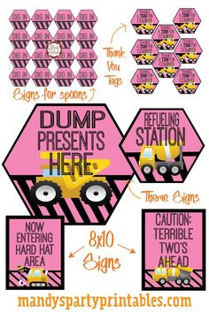 Free Girly Construction Printables | Mandy's Party Printables