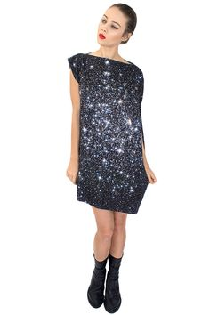 Free Shipping Worldwide for Womens Casual Boat Neck Galaxy Printed Smock Dress Black, on sale now at our lowest price ever! Shop PinkQueen.com, the sexy way to save.