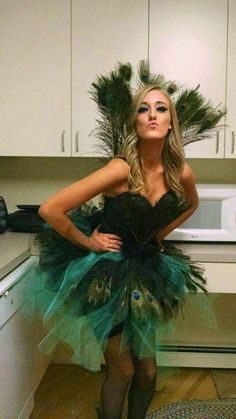 Jessica's home made peacock costume for Halloween.