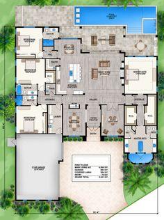 Coastal home plans - orange isle florida design, story house, house plans one story House Layout Plans, House Plans One Story, Family House Plans, New House Plans, Story House, Dream House Plans, Modern House Plans, House Layouts, House Floor Plans