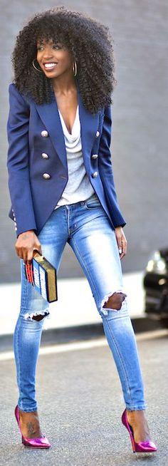 Navy Slim Military Inspired Jacket Style Pantry