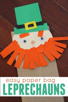 Easy Preschool Cutting Craft: Paper Bag Leprechauns