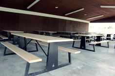 Picnic Table Bench, Outdoor Picnic Tables, Metal Furniture, Outdoor Furniture, Garden Chairs, Urban Design, Yard Ideas, Pavilion, Backyard