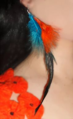 feather beautiful neon multicolor long earrings orange and blue and olive green