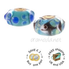 white fish and his bubbles #Trollbeads #glass #beads