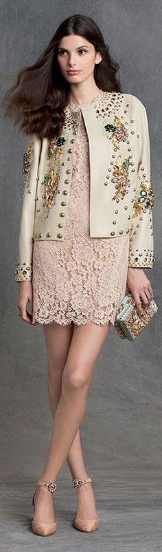 clothing ideas fashion blush lace little dress Dolce & Gabbana - Winter Couture Fashion, Runway Fashion, High Fashion, Fashion Show, Womens Fashion, Fashion Trends, Fashion Details, Fashion Design, Italian Fashion