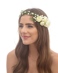 Ivory Floral Flower Crown of Fern Flowers and Pearls, Beaded Woodland Wedding Hair Halo Flower Crown Boho Wedding Bridal Hair Wreath This Flower Crown features green fern with wired ivory pearls in different sizes all across the halo, and at one side I added some ivory peony flowers.
