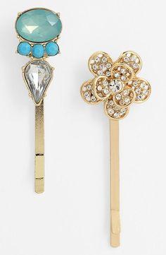 So sweet! Crystal-embellished bobby pins.