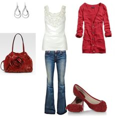 hot to trot! I have this basic outfit... not the exact same flats but close, my red bag is more a hobo style but rest is pretty much the same....love it!!