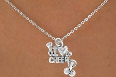 M needs this!!!  She can't wear her cheer necklaces she's gotten before because she has a nickel allergy now....  This one is nickel free so she can wear it