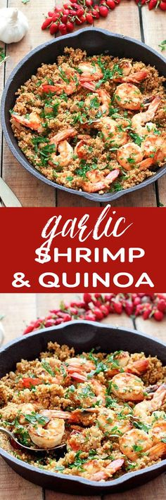 Garlic Shrimp and Quinoa. SImple and healthy - be sure to use your own seasoning mixes to keep the sodium low.