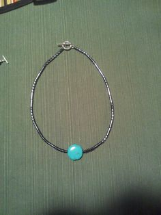 A Simple Turquoise and Hematite Necklace.