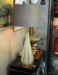 Midcentury art glass table lamp.