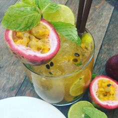 Passion Fruit #Mojito - tastes fantastic every time. One of seven amazing Jenna's Mojitos.  #Jennas #Aonang #Krabi #restaurant #cocktail #passionfruit #passionfruitcocktail #passionfruitmojito