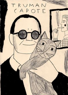 Illustration by Inma Lorente - makes me wish someone would draw all the celebrity + cat photos I see floating around.
