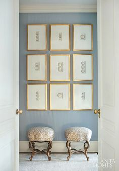 Cameos mounted in museum style oversized mats in gold frames by designer Suzanne Kasler cameos mounted in frames.